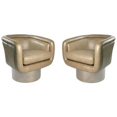 Leon Rosen Swivel Tub Chairs for Pace in Mirror Polished Stainless