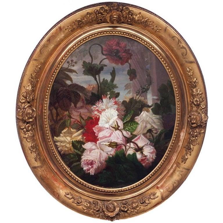"""Leon Rousseau, """"Title: Bouquet of Flowers"""", Oil on Canvas"""