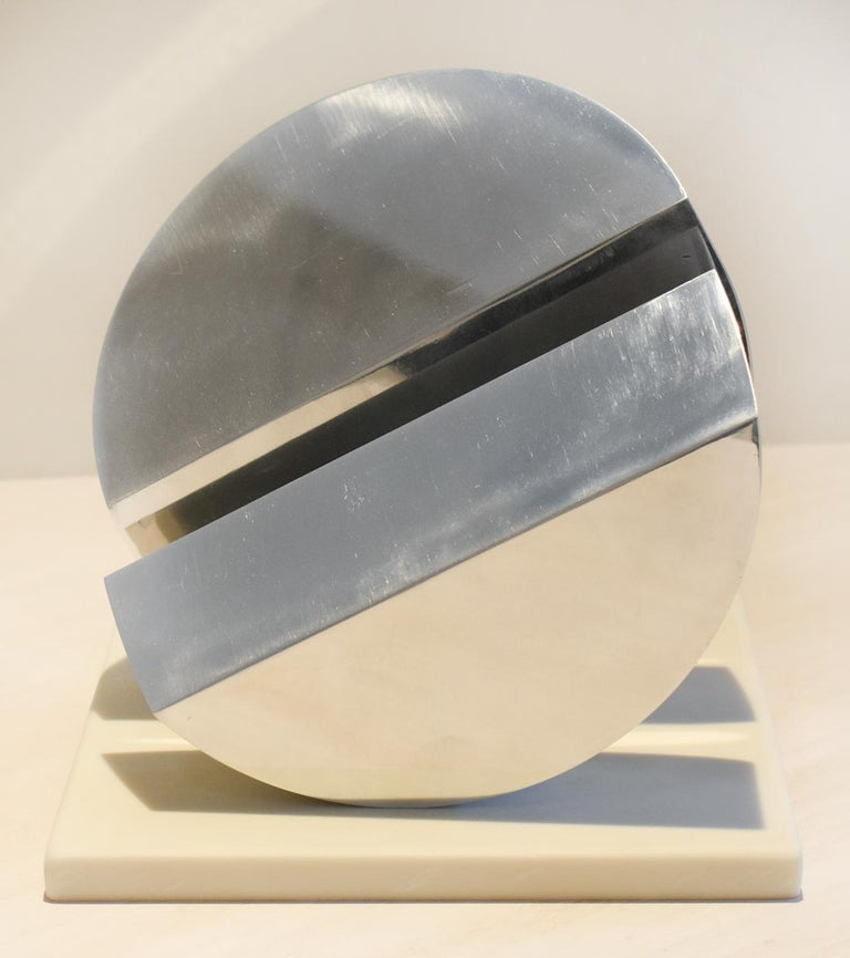 Eclipse II (Abstract Minimalist Polished Steel Sculpture with Marble Base)  - Beige Abstract Sculpture by Leon Smith