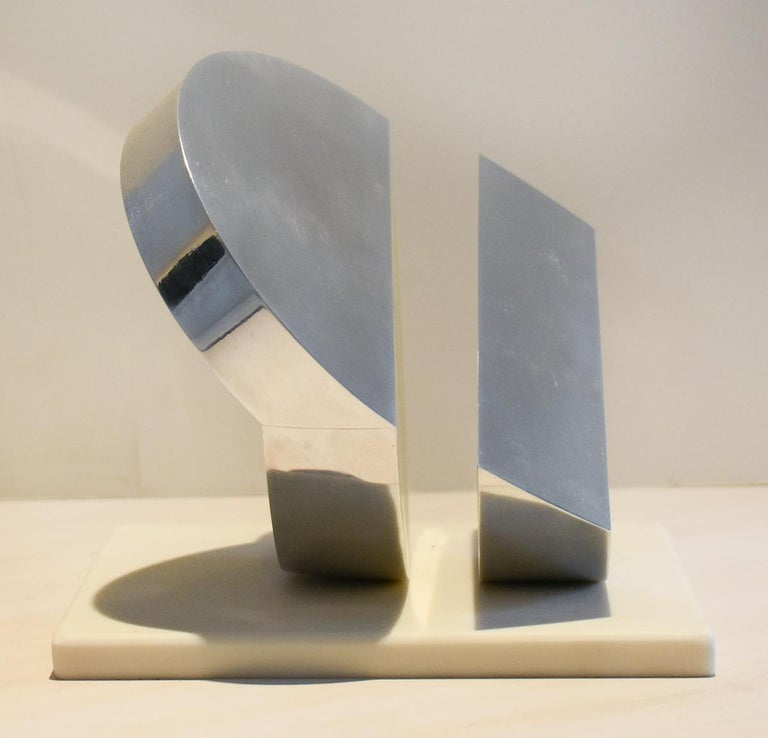 Eclipse II (Abstract Minimalist Polished Steel Sculpture with Marble Base)  1