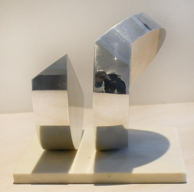 Eclipse II (Abstract Minimalist Polished Steel Sculpture with Marble Base)  2