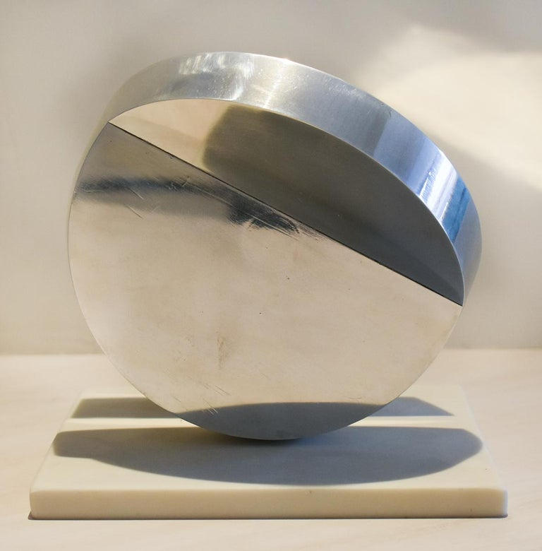 Eclipse II (Abstract Minimalist Polished Steel Sculpture with Marble Base)  3