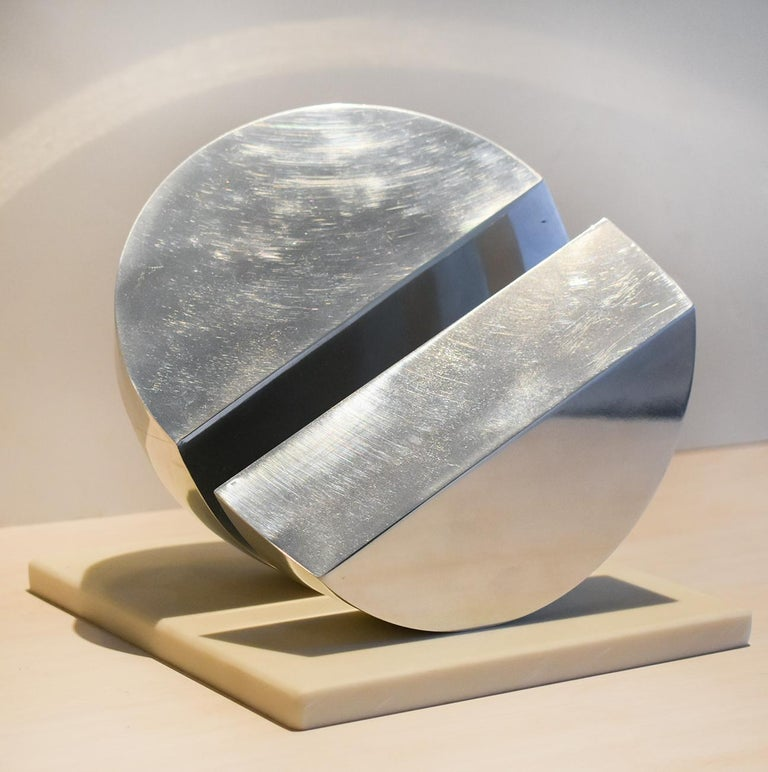Leon Smith Abstract Sculpture - Eclipse II (Abstract Minimalist Polished Steel Sculpture with Marble Base)