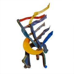 Pan (Colorful Abstract Mid Century Modern Sculpture in Yellow, Blue Red & Green)