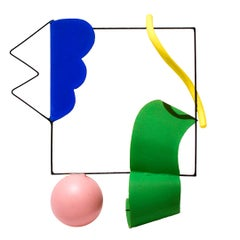Trapeze Poly (Colorful Abstract Modern Sculpture in Yellow, Blue, Pink & Green)