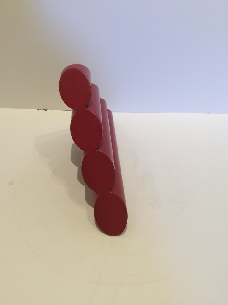 Triangle (Mid-Century Modern Abstract Geometric Red Metal Sculpture) For Sale 1