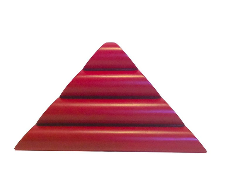 """Mid-Century Modern abstract geometric kinetic metal sculpture painted red """"Triangle"""" by Leon Smith, c. 2007 Aluminum painted with red acrylic  8 x 14 x 2 inches  Bottom weight grounds the sculpture and allows free back and forth movement   This"""