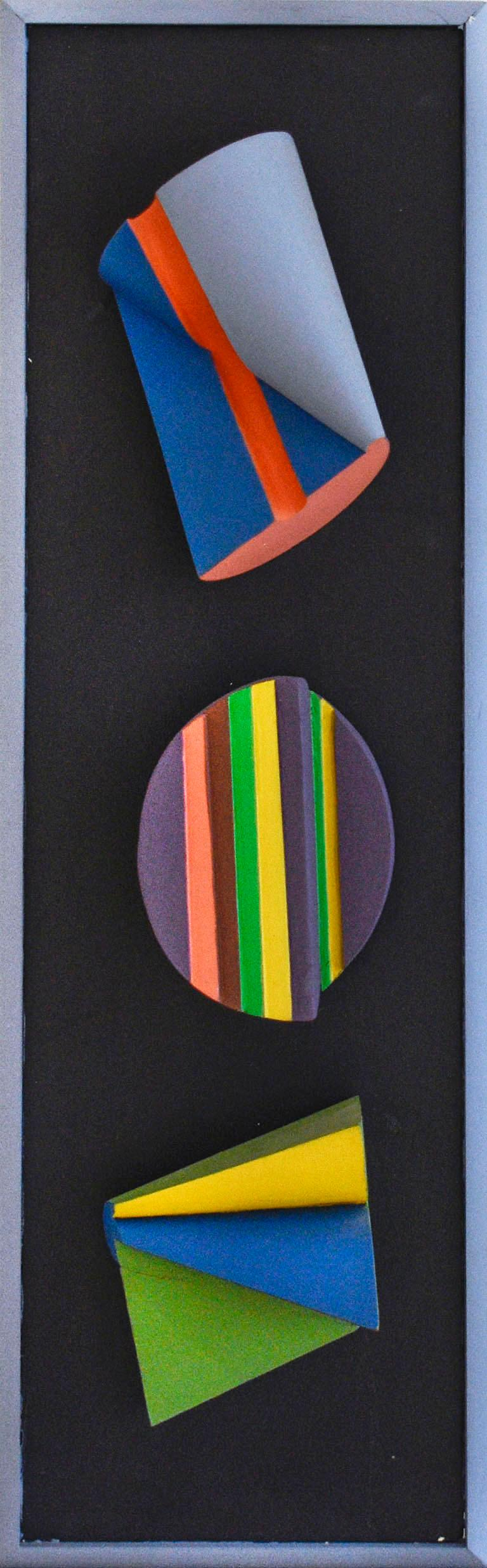Leon Smith Abstract Sculpture - Trio: Colorful Abstract Geometric Three Dimensional Wall Sculpture on Panel