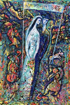 Wedding in the Jewish Village, Painting, Acrylic on Canvas