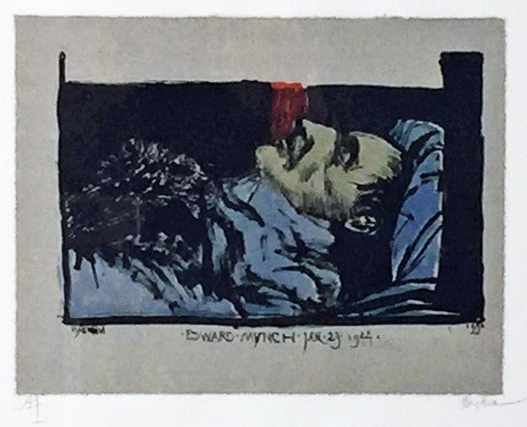 Leonard Baskin Figurative Print - EDWARD MUNCH JAN.23.1944