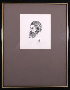 Framed etching, portrait, signed and numbered
