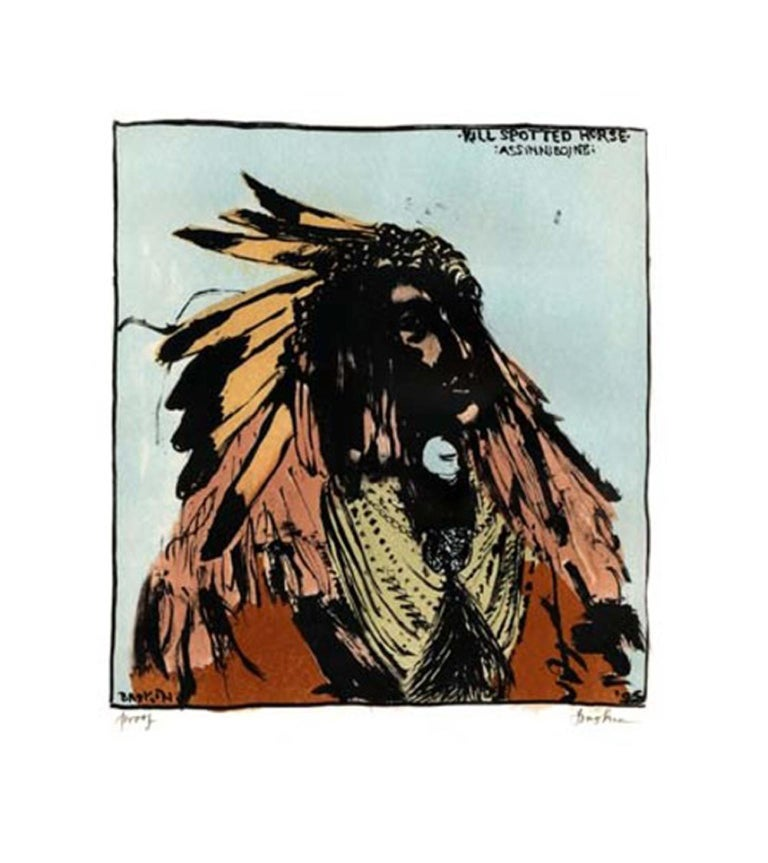 """"""" Kill Spotted Horse-Assinniboine"""" is an Original color lithograph by Leonard Baskin. This is a signed artists proof. The subject is of a portrait by Frank Albert Rinehart who, with his assistant Adolph Muhr, photographed Native Americans at the"""