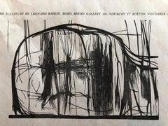 Leonard Baskin Woodblock Broadside Print Woodcut Vintage Poster in Red and Black
