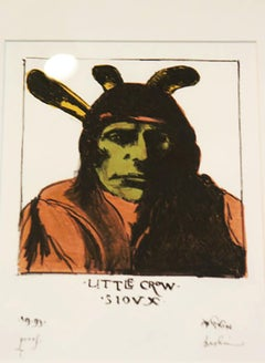 """""""Little Crow- Sioux,"""" Original Lithograph signed by Leonard Baskin"""