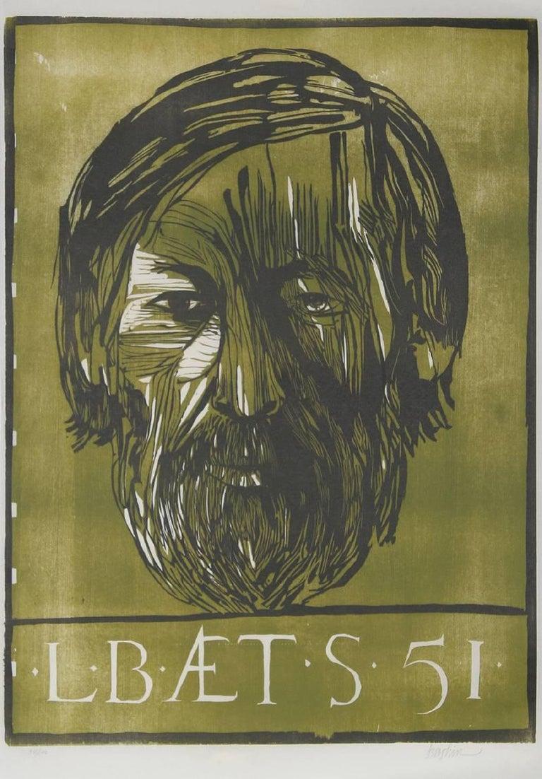 Self Portrait, Woodcut by Leonard Baskin 1951