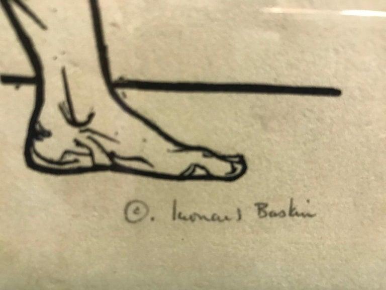 Mid-20th Century Leonard Baskin Wood Engraving Limited Edition Print