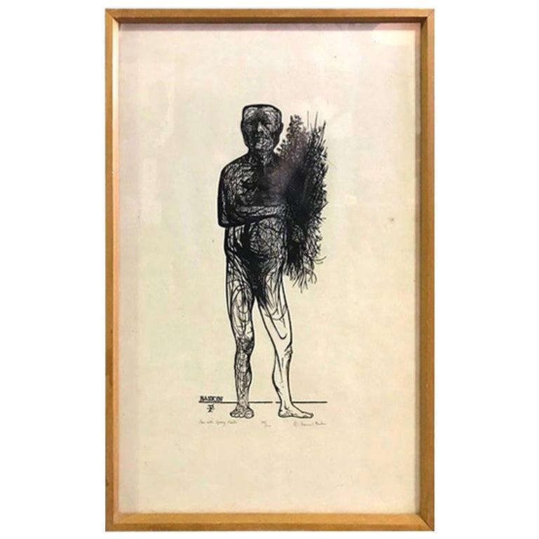 """Leonard Baskin Wood Engraving Limited Edition Print """"Man with Spring Flowers"""" For Sale"""