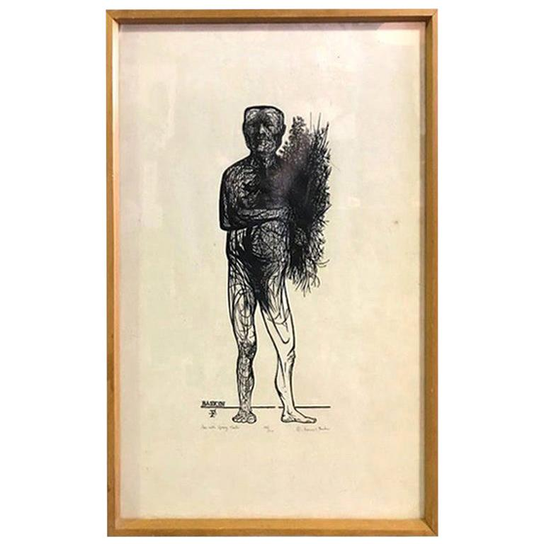 "Leonard Baskin Wood Engraving Limited Edition Print ""Man with Spring Flowers"" For Sale"