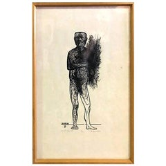 """Leonard Baskin Wood Engraving Limited Edition Print """"Man with Spring Flowers"""""""
