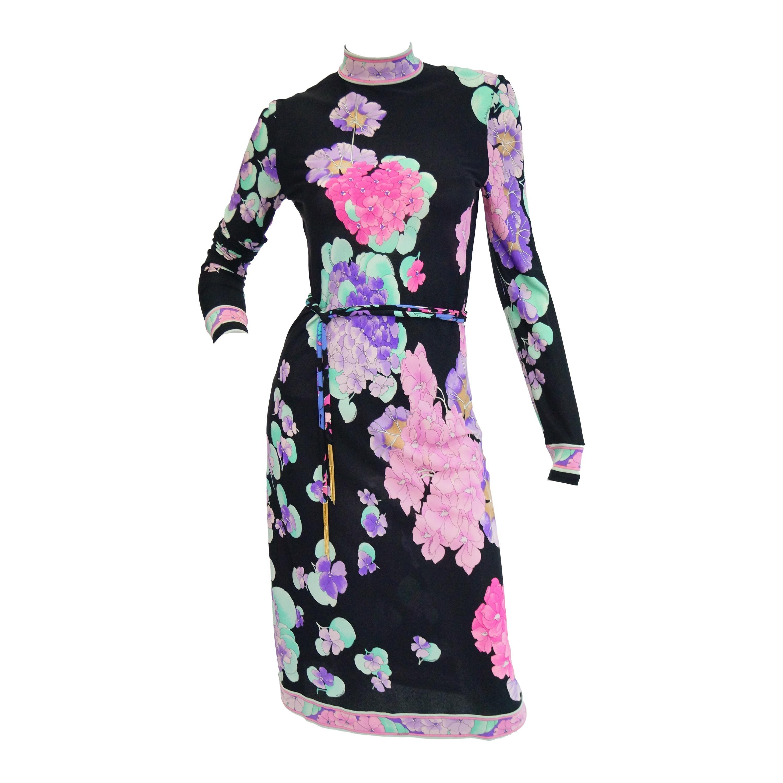 Leonard Black and Pink Floral Silk Jersey Knit Midi Dress