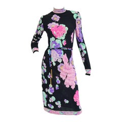 Leonard Black and Pink Floral Silk Jersey Knit Midi Dress