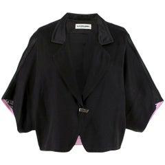 Leonard Black Silk Short Sleeve Jacket - Size US 6