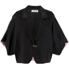 Leonard Black Silk Short Sleeve Jacket - US6/IT42