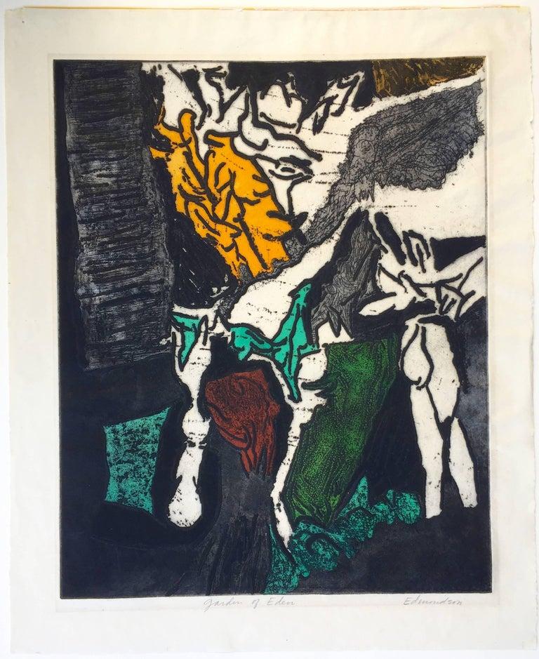 Garden of Eden - Abstract Expressionist Print by Leonard Edmondson