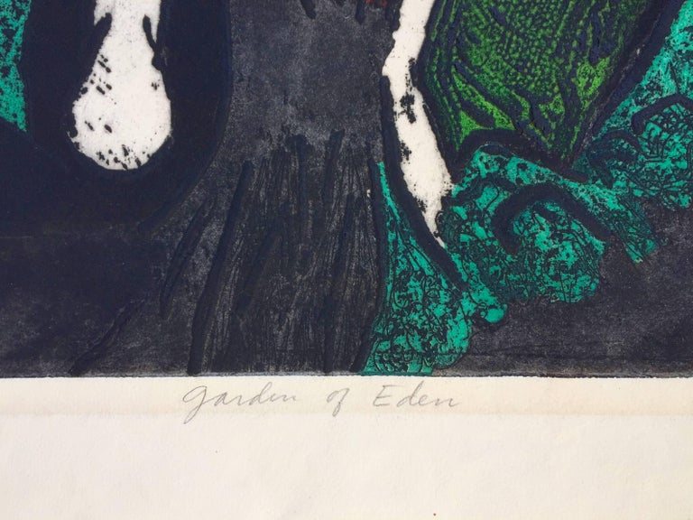 LEONARD EDMONDSON (1906 – 2001)    GARDEN OF EDEN  c. 1960 Color intaglio (carborundum?) Signed and titled in pencil. Small edition, these larger prints were harder to print. 19 ¾ x 15 ¾  Full sheet, 23 5/8 x 19 inches. In generally good condition.