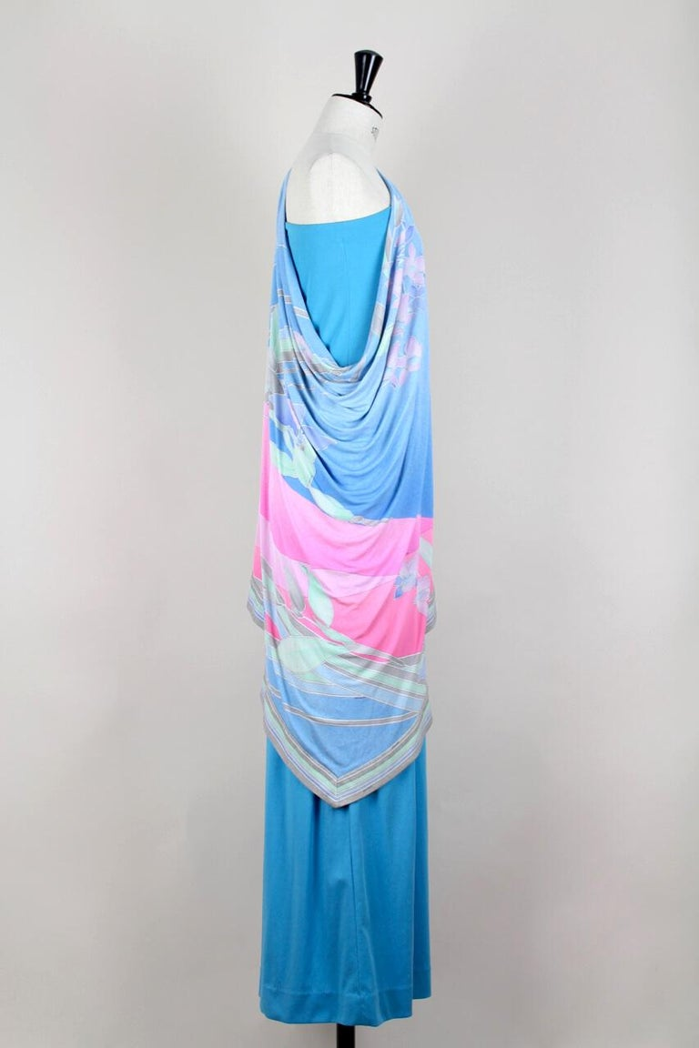 Leonard Fashion Paris One Shoulder Draped French Blue Jersey Maxi Dress, 1970s In Excellent Condition For Sale In Munich, DE