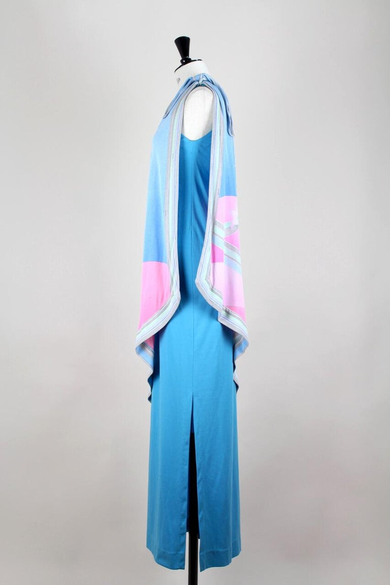 Women's Leonard Fashion Paris One Shoulder Draped French Blue Jersey Maxi Dress, 1970s For Sale