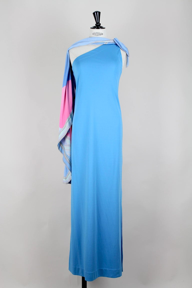 Leonard Fashion Paris One Shoulder Draped French Blue Jersey Maxi Dress, 1970s For Sale 3