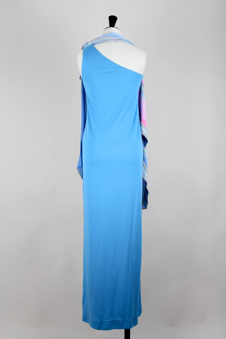 Leonard Fashion Paris One Shoulder Draped French Blue Jersey Maxi Dress, 1970s For Sale 4