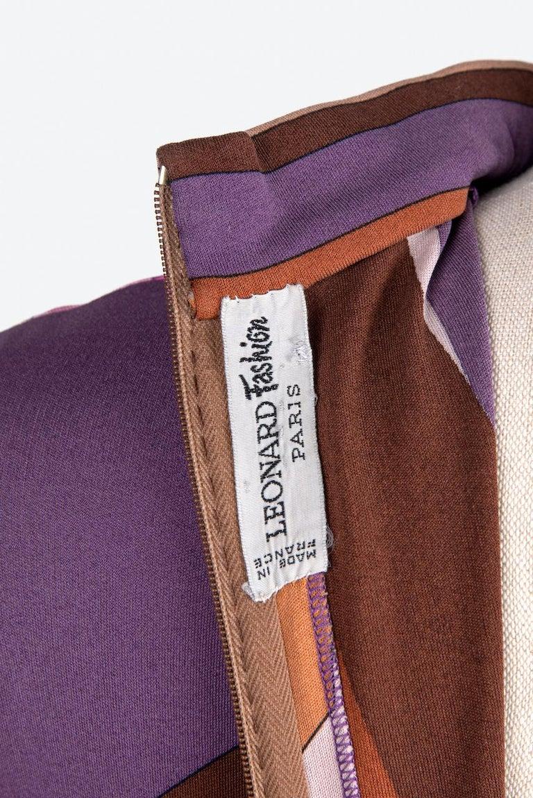 LEONARD Fashion Paris Pink Purple Brown Geometric Print Silk Jersey Dress, 1970s For Sale 6