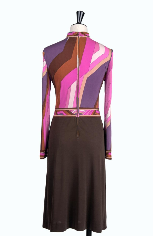 Black LEONARD Fashion Paris Pink Purple Brown Geometric Print Silk Jersey Dress, 1970s For Sale