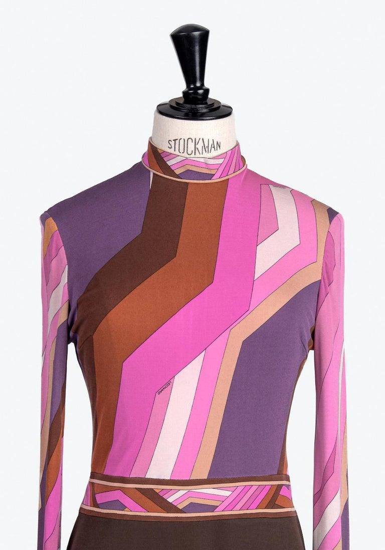 Women's LEONARD Fashion Paris Pink Purple Brown Geometric Print Silk Jersey Dress, 1970s For Sale