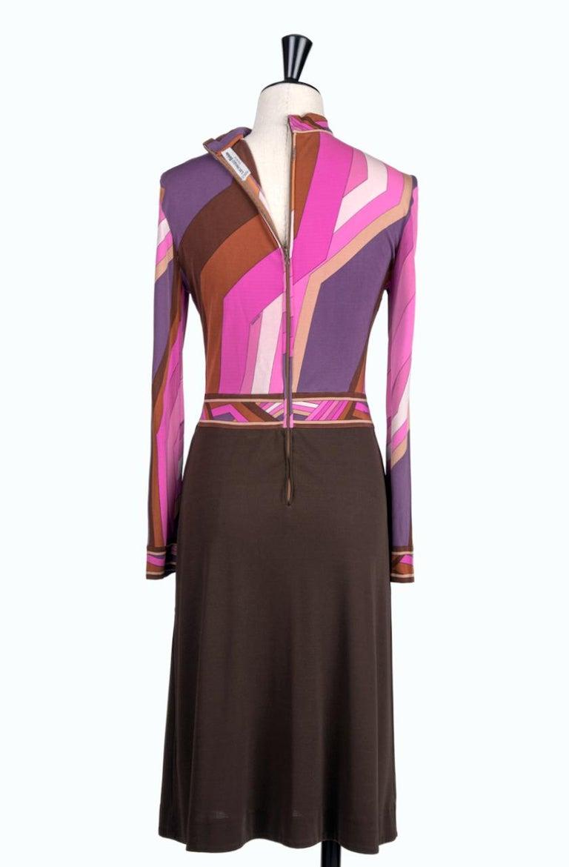 LEONARD Fashion Paris Pink Purple Brown Geometric Print Silk Jersey Dress, 1970s For Sale 1