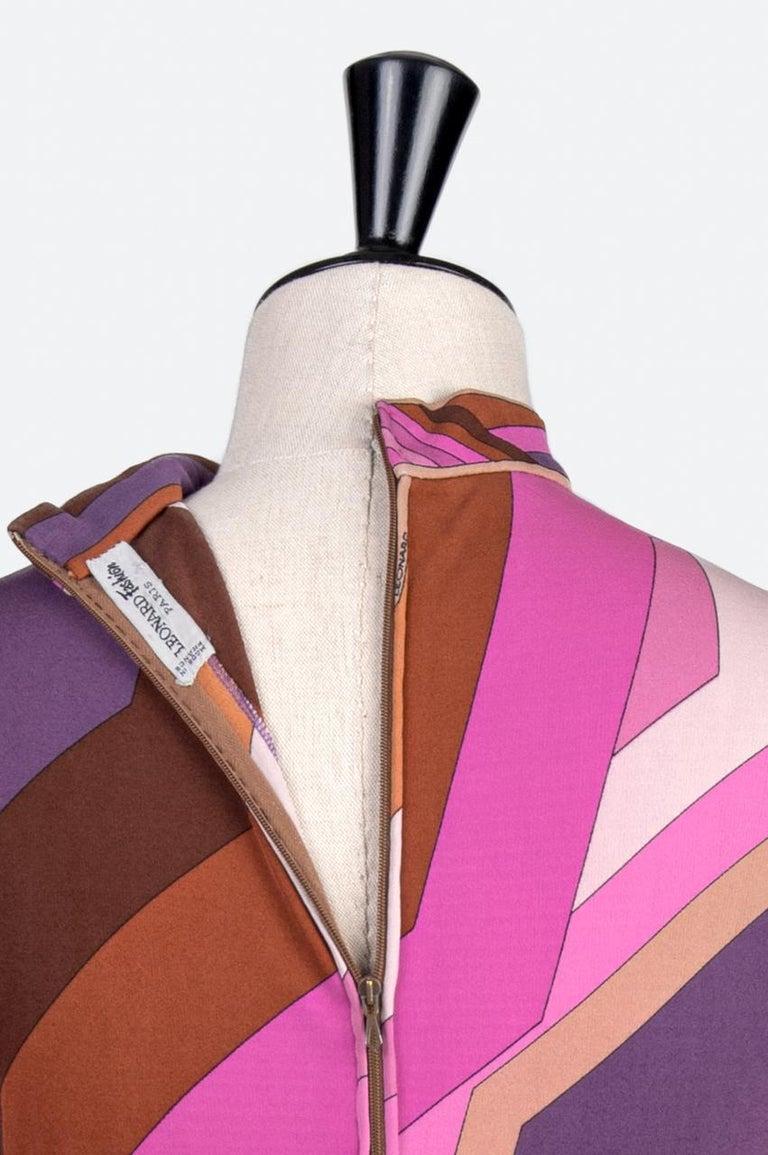 LEONARD Fashion Paris Pink Purple Brown Geometric Print Silk Jersey Dress, 1970s For Sale 3