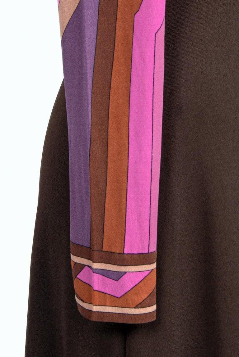 LEONARD Fashion Paris Pink Purple Brown Geometric Print Silk Jersey Dress, 1970s For Sale 4