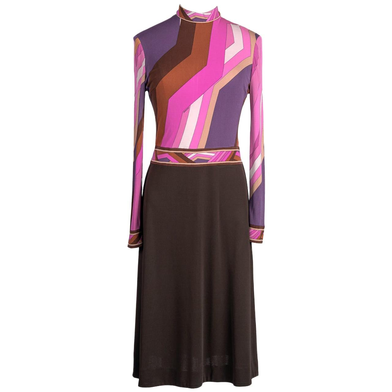 LEONARD Fashion Paris Pink Purple Brown Geometric Print Silk Jersey Dress, 1970s
