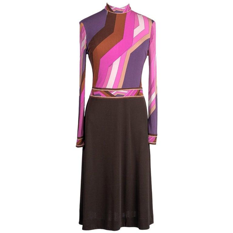 LEONARD Fashion Paris Pink Purple Brown Geometric Print Silk Jersey Dress, 1970s For Sale