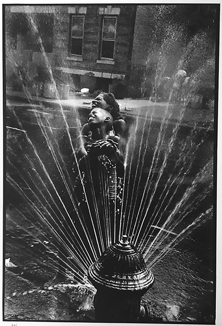 Fire Hydrant, Harlem, New York, Black and White Photo African American Children