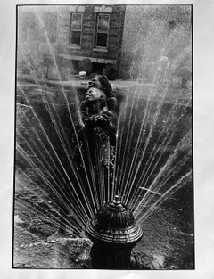Fire Hydrant, Harlem, NYC, Black and White Photo 1960s African American Children