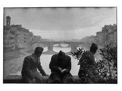 Arno River, Florence, Italy, A Black and White Documentary Photo of Soldiers
