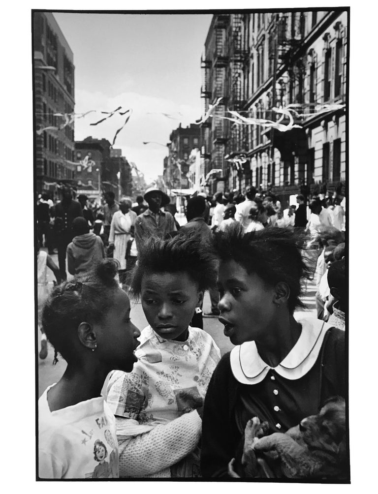 Leonard Freed Black and White Photograph - New York City, Harlem, Black and White Street Photography of Three Young Girls