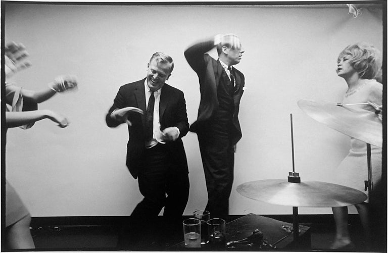 Leonard Freed Black and White Photograph - Office party, New York City, Black and White Documentary Photo of People Dancing