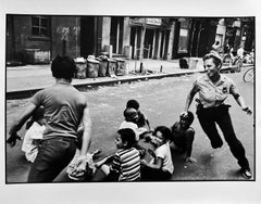 Policewoman Playing Tag, New York City, Police Series Street Photography 1970s