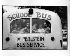 School Bus, New York City, Black and White Documentary Photo of Jewish Diaspora