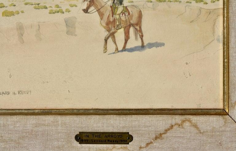 Leonard Howard Reedy (1899-1956) In The Arroyo Drawing-watercolor Watercolor/paper Signed Leonard H. Reedy (lower left) Measures: Framed height 14.25 in. (36.19 cm.), width 16.75 in. (42.54 cm.) Without frame: Height 8 in. (20.32 cm.), width