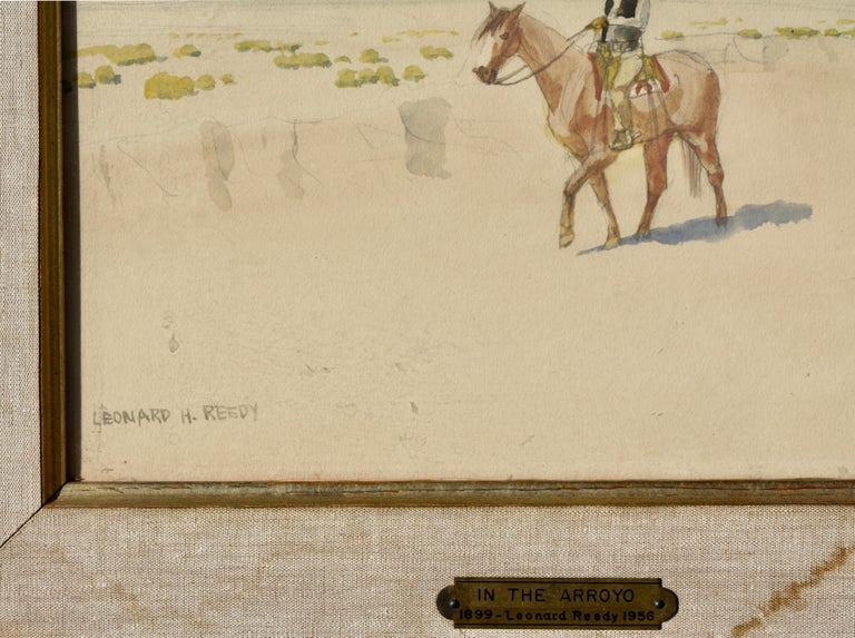 Leonard Howard Reedy in the Arroyo Drawing-Watercolor In Good Condition For Sale In Palm Beach, FL